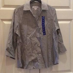 Women's Foxcroft Button Down Shirt Grey L NWOT